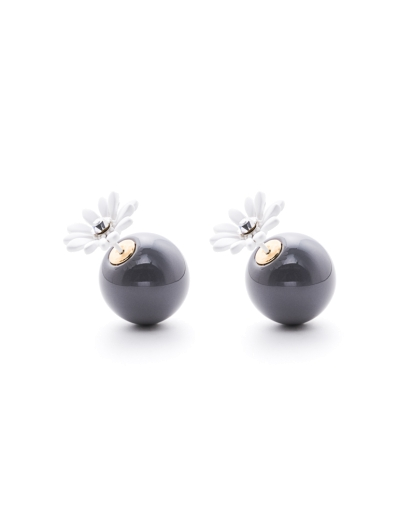 WHITE FLORAL GREY SPHERES EARRINGS