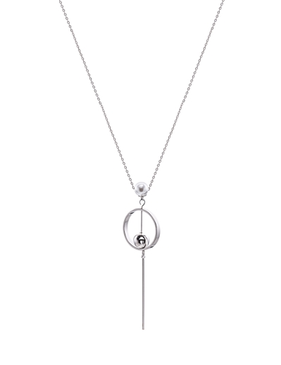 SPHERES CIRCLE BAR RHODIUM NECKLACE