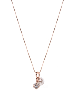 PEARL AND CUBE ROSEGOLD NECKLACE