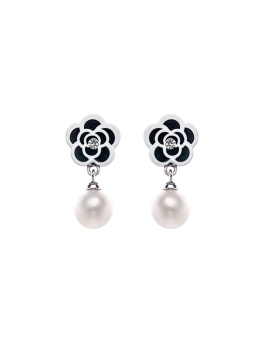 BLACK WHITE FLORAL PEARLS EARRINGS