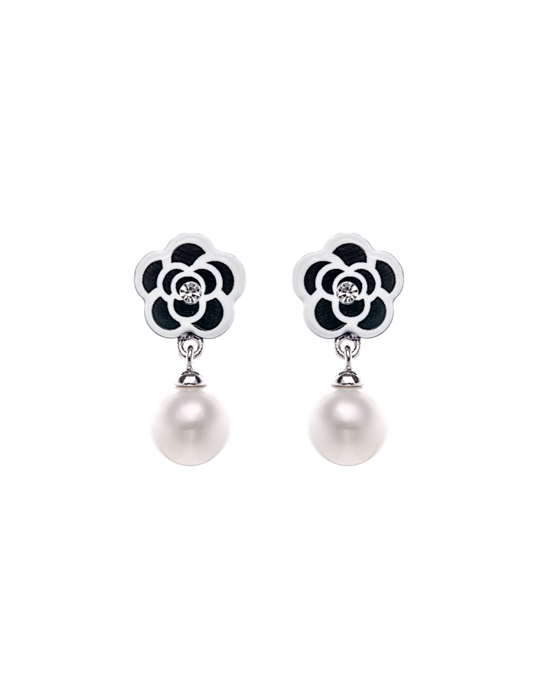 Black White Floral Pearls Earrings Jemsa