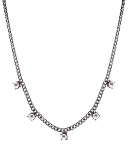 FIVE PEARLS GUNMETAL NECKLACE