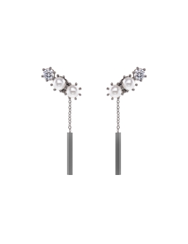 PEARLS CUBIC TRIO GUNMETAL EARRINGS