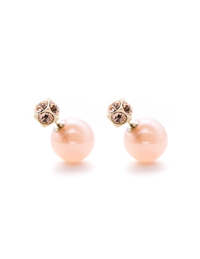 PEACH CUBES GOLD DUO EARRINGS
