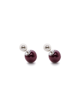 MAROON SPHERES N PEARLS EARRINGS