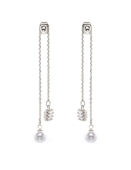 PEARLS CUBIC LONG RHODIUM EARRINGS