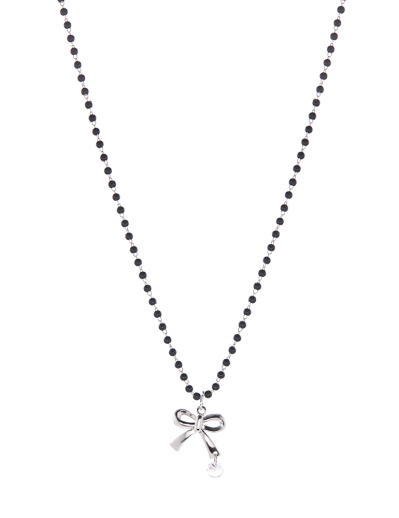 BLACK BEADS WITH BOW NECKLACE
