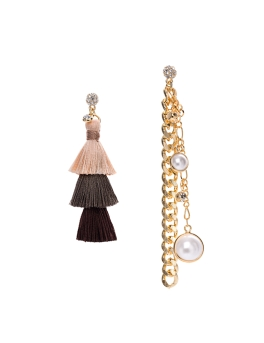 TRI TASSEL GOLD CHAIN EARRINGS