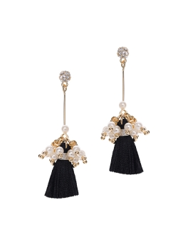 BLACK TASSEL PEARL CLUSTER EARRINGS