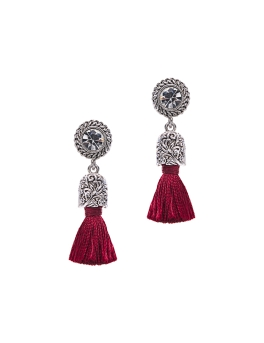 MAROON TASSEL VINTAGE EARRINGS