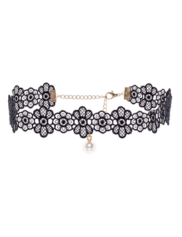 PEARL INTRICATE BLACK LACE CHOKER