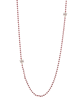 RED GLASS STONE GOLD CUBIC NECKLACE