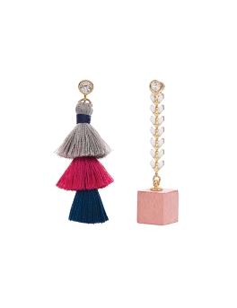 TRI TASSEL PINK CUBE EARRINGS