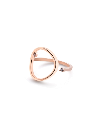 OPEN ROSEGOLD N CRYSTAL RING