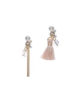 ASYMMETRICAL TASSEL N BAR EARRINGS