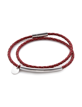 DUO LOOP RHODIUM RED BRACELET