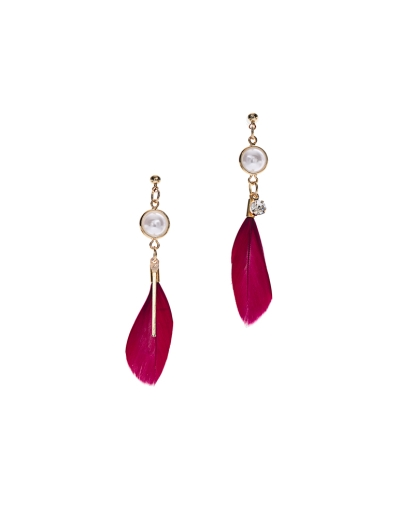 MAROON FEATHER EARRINGS