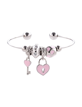 PINK CHARMS ADJUSTABLE RHODIUM CUFF