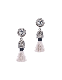 LIGHT GREY TASSEL VINTAGE EARRINGS