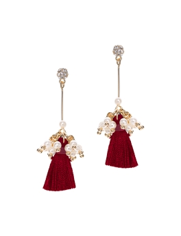 MAROON TASSEL PEARL CLUSTER EARRINGS