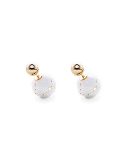 GOLD AND WHITE DUO SPHERES EARRINGS