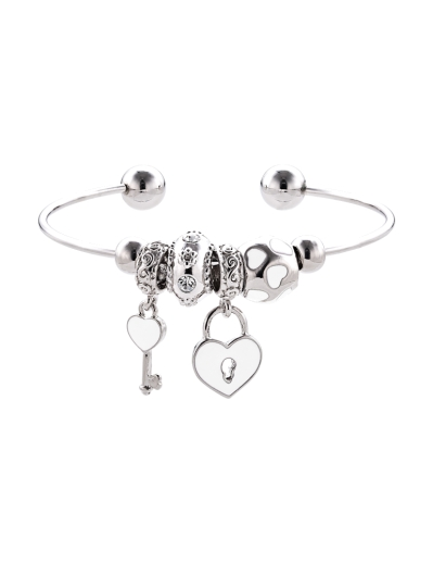 WHITE CHARMS RHODIUM CUFF