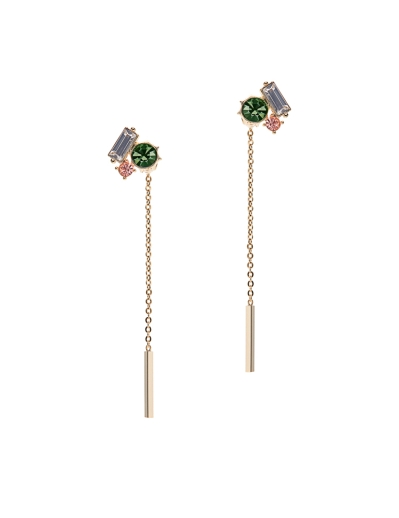 THREE SPARKLING STONES GOLD EARRINGS