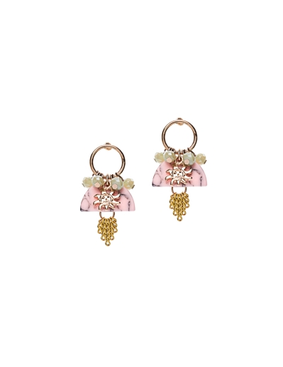 YELLOW TASSEL AND PINK EARRINGS