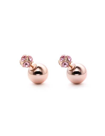 PINK CUBIC ROSEGOLD SPHERES EARRINGS