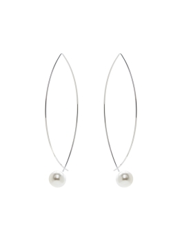 MODERN RHODIUM PEARLS EARRINGS