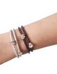 LUXE WHITE LEATHER ROSEGOLD BANGLE