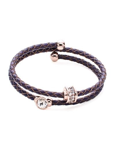 LUXE PURPLE LEATHER ROSEGOLD BANGLE