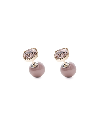 PINK STONE NUDE PINK DUO EARRINGS