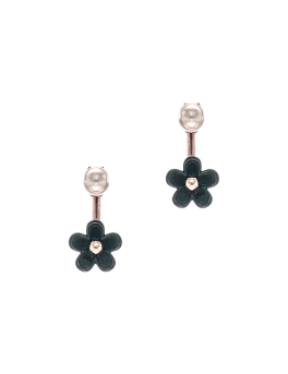 BLACK FLORAL ROSEGOLD EARRINGS