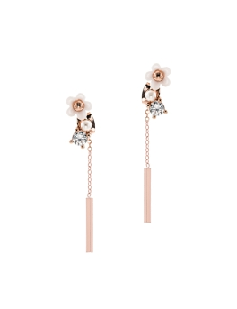 WHITE FLORAL ROSEGOLD BAR EARRINGS