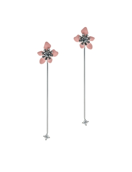 PINK FLOWER RHODIUM BARS EARRINGS