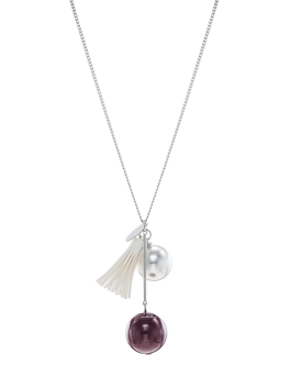 WHITE TASSEL MAROON BALL NECKLACE