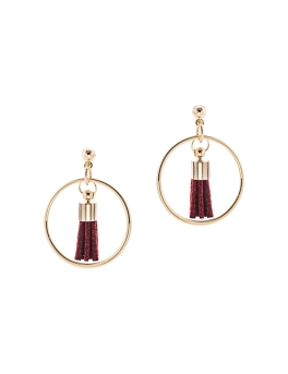 WINE TASSEL IN GOLD CIRCLE EARRINGS