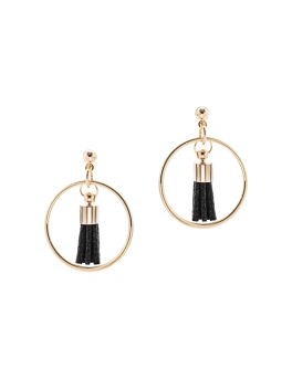 BLACK TASSEL IN GOLD CIRCLE EARRINGS