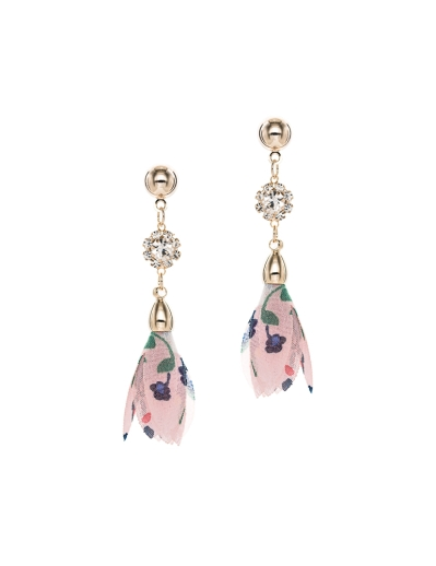 PRINTED PINK FLORAL CUBIC EARRINGS