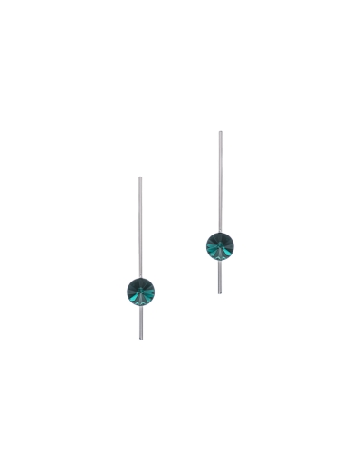 GREEN STONE VERTICAL BAR EARRINGS