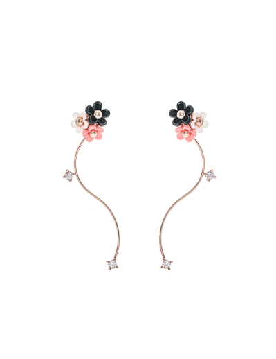 TRIO FLORAL ROSEGOLD WAVE EARRINGS