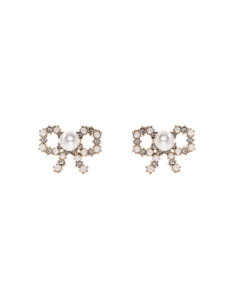 PRETTY INTRICATE PEARLS BOW EARRINGS