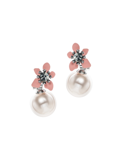 PINK ART FLOWER DUO PEARLS EARRINGS