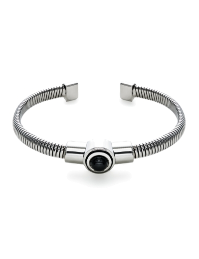 BLACK STONE RHODIUM RIBBED BANGLE