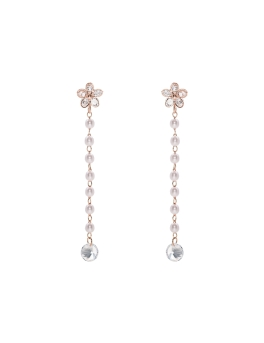FLOWERS PEARL STRANDS RG EARRINGS