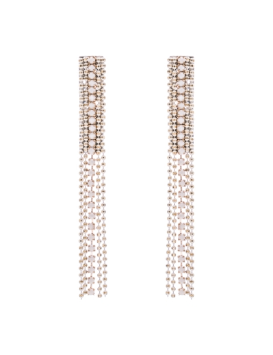 FIVE STRANDS WHITE ZIP EARRINGS