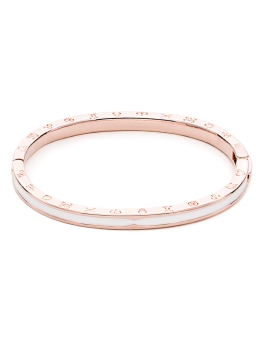 WHITE WAVE ROSEGOLD BANGLE