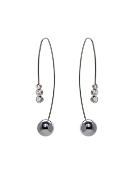 GUNMETAL SPHERES N CUBIC EARRINGS