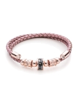PINK LEATHER BLACK CRYSTALS BANGLE
